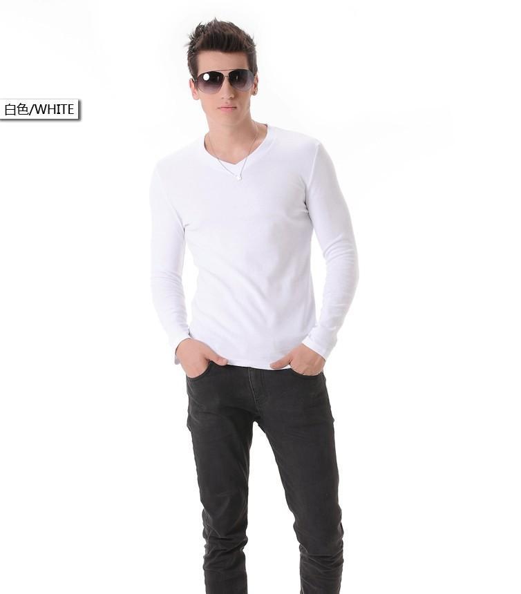 Moda do corpo dos homens moda branco colarinho de mangas compridas camisa de mangas compridas camisa de algodão
