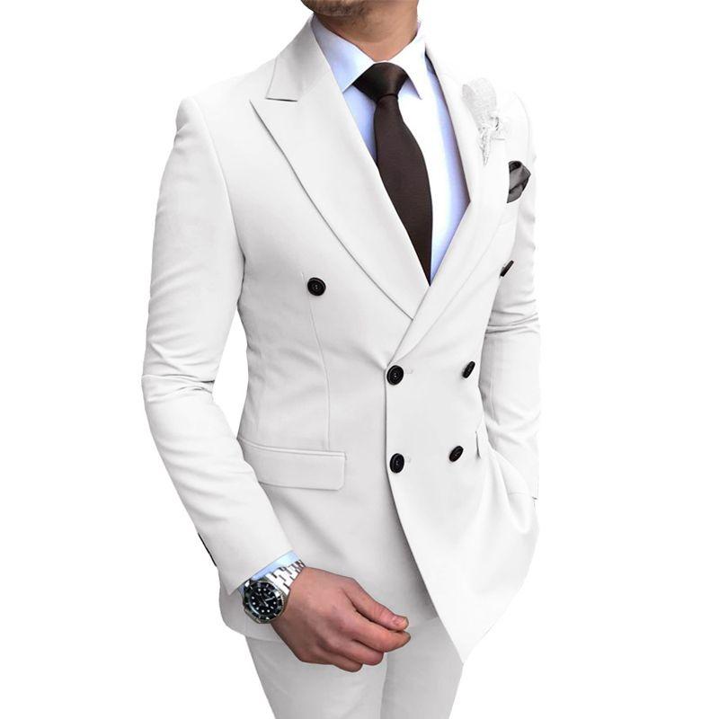 Zweireihiger dünnen Sitz-Männer Anzüge für Hochzeit mit spitzen Revers 2 Stück männlich Anzug Set Jacke Hose weiß Bräutigam Smoking