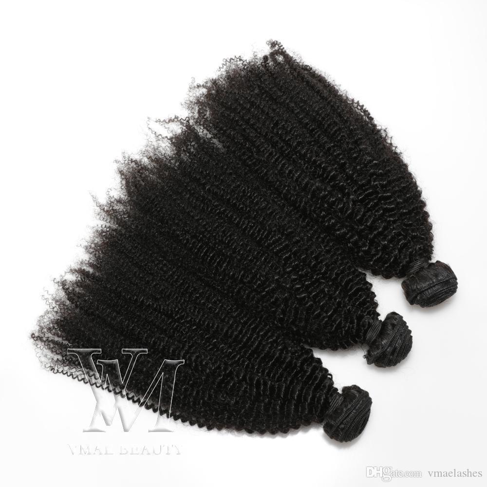 VMAE Moğol Remy Virgin Saç Afro Kinky Kıvırcık Atkı 3 Paketler 4A 4B 4C Kıvırcık örgüleri İnsan Saç Uzatma Siyah Kadınlar