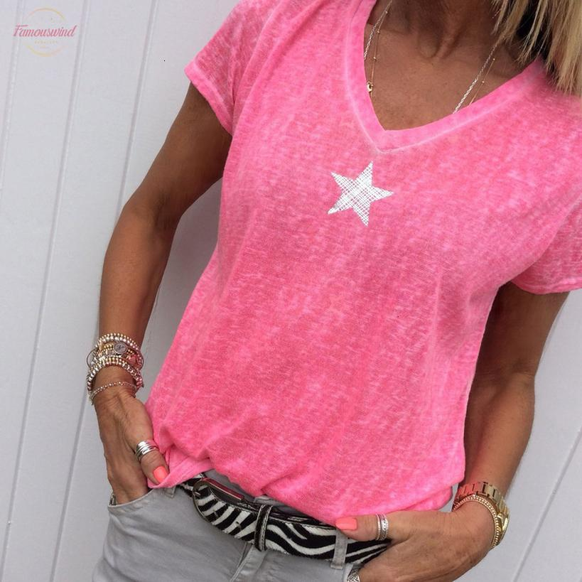 Star Printed T Рубашка лета женщин с коротким рукавом Полиэстер Хлопок Tee Shirt Sexy V шеи Tee Tops Плюс размер S Цвета
