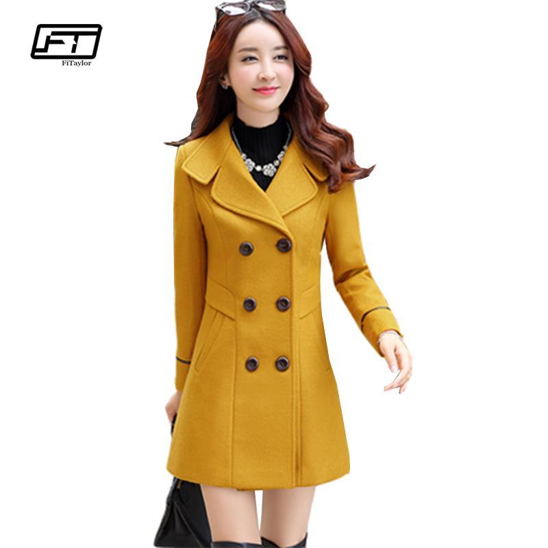 Fitaylor Yeni Sonbahar Kış Kadın Yün Karışımı Sıcak Uzun Ceket Artı Boyutu Kadın Slim Fit Yaka Yün Palto Kaşmir Giyim