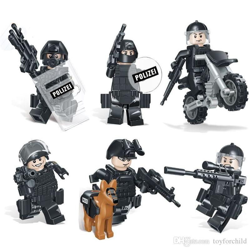 6pcs Lot Border Protection 9th Brigade SWAT Police Policeman Military Special Force Figure with Weapon Building Block Brick Toy For Boy