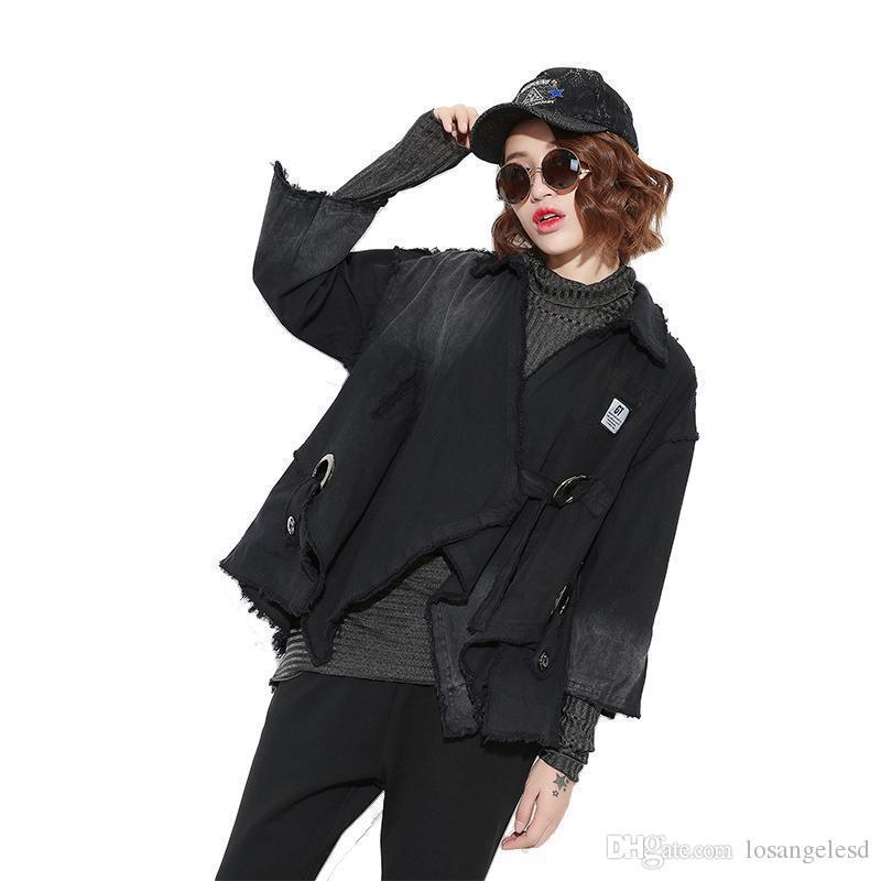 Pop Nice Autumn Fashion Trench Coat Large Size Denim Wash Dark Black Personality Gradient Sweater Women Clothes