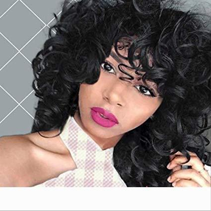 Short Curly Wigs Brazilian hair Kinky Wig with Bangs 180% density Fluffy Wavy Black Hair for Women Natural Looking