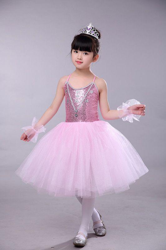 2020 Pink Blue Romantic Tutu Ballerina Dress Kids Girl Sequin Leotard with Skirt Long Ballet Dress for Child Birthday Party Costume