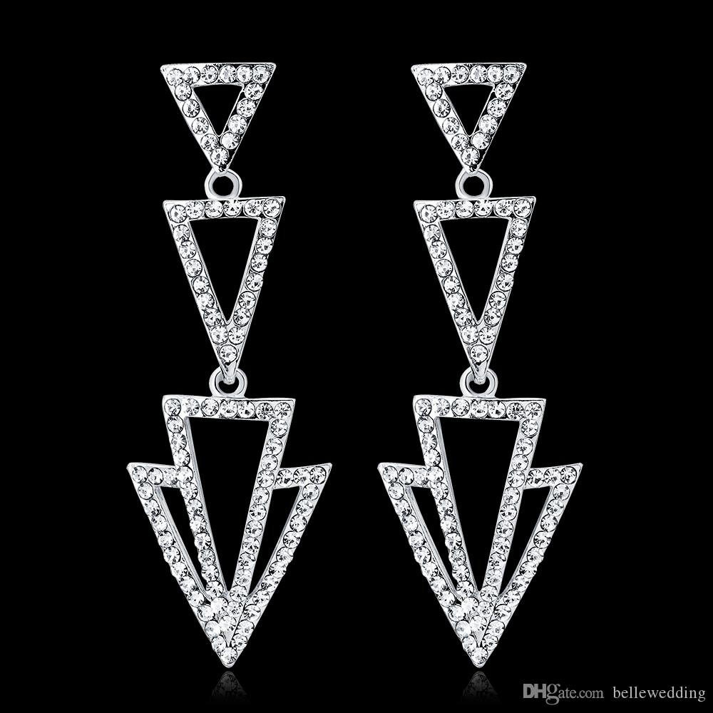 New Bridal Earrings with Crystals Rhinestones Triangle Shape Earring Bridal Jewelry Findings Wedding Accessories For Brides BW-109