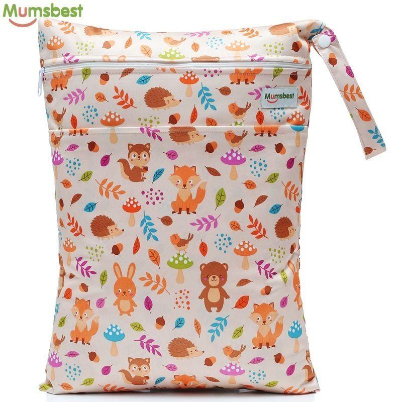 2019 New Wet Bag Washable Reusable Cloth Diaper Nappies Bags Waterproof Swim Sport Travel Carry Bag Big Size:40x30cm