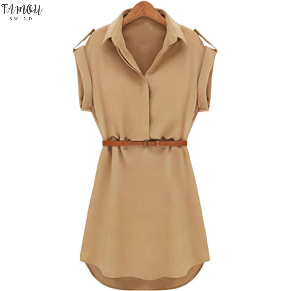 Women Casual Summer Loose Short Sleeve Chiffon Dress With Belt Hot Sale Office Lady Style Dresses For 2020 New Fashion vestidos
