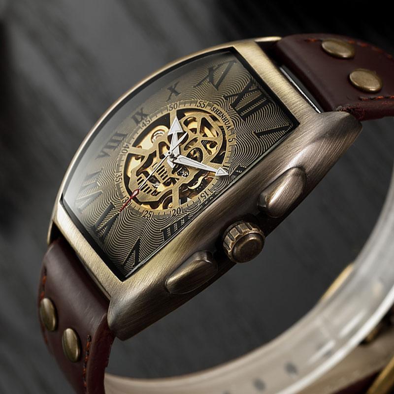 Reloj mecánico automático de los hombres de cuero esqueléticas transparente correa superior Winding reloj de pulsera de reloj automatico De Hombre