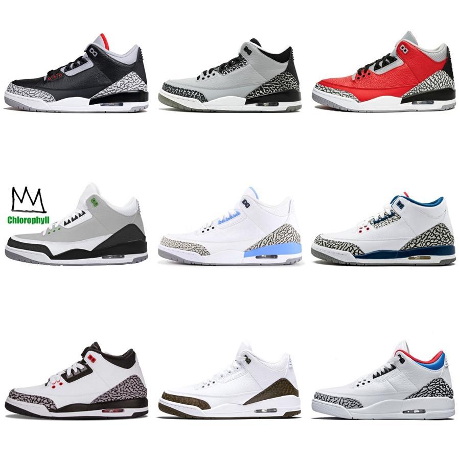 Cactus Jack 3 3S Mens scarpe da basket raffreddano i pattini grigi What The Bred Cemento 3S bianco gatto nero Pantone formatori Designer Sport Sneakers # 681