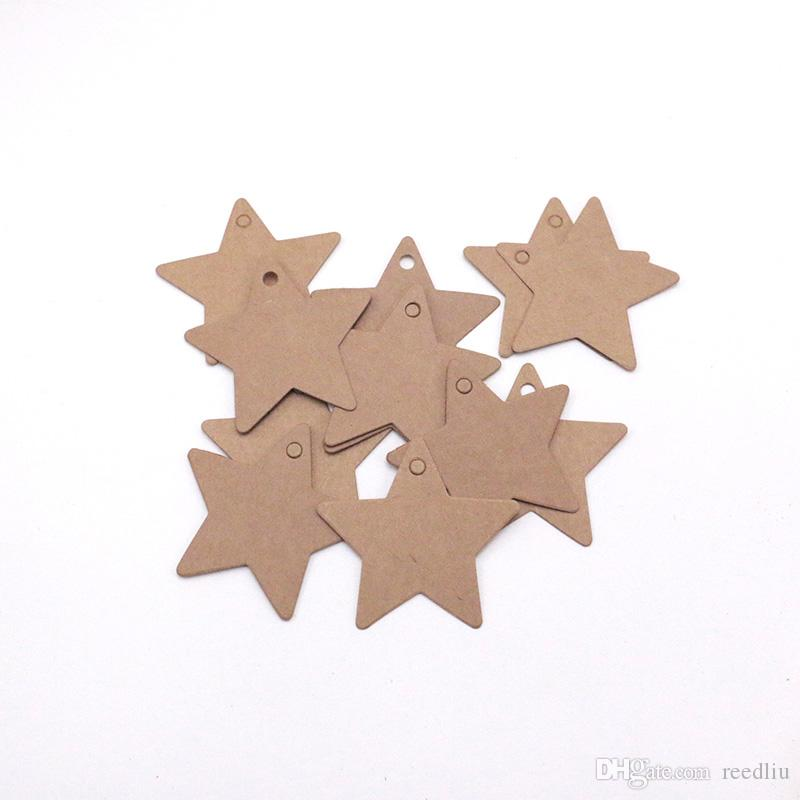 1000pcs/lot Star Paper Label Price Tags Wedding Christmas Halloween Party Favor Gift Card Luggage Tag Packaging Labels 6.3x6.3cm