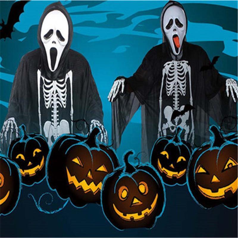 Yeni Cadılar Bayramı Cosplay Kafatası İskeleti Unisex Hayalet İskelet Desen Kostüm Cadılar Bayramı Korku Performans Giyim Maske Eldiven Yetişkin Çocuk Suit