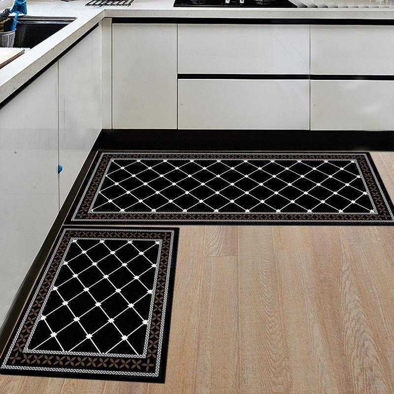 블랙 화이트 주방 매트 기하학적 프린트 주방 매트 요리 매트 바닥 매트 발코니 욕실 카펫 입구 문 매트