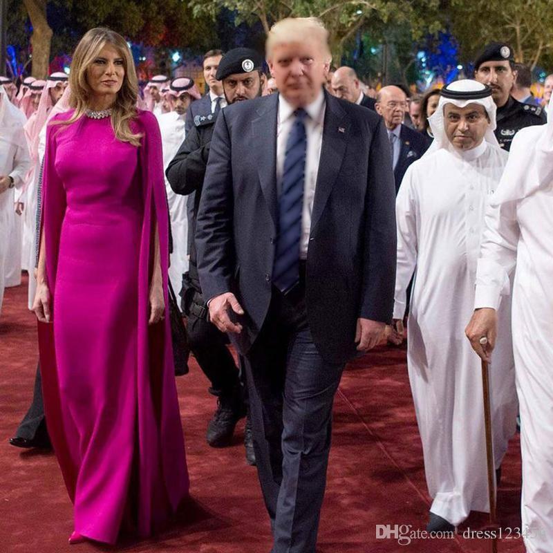 New Melania Trump Stesso abito da sera Arabia Saudita Elegante rispettoso 'Tour Outfit Abito da cerimonia lunghezza pavimento con involucro lungo Vestios De prom