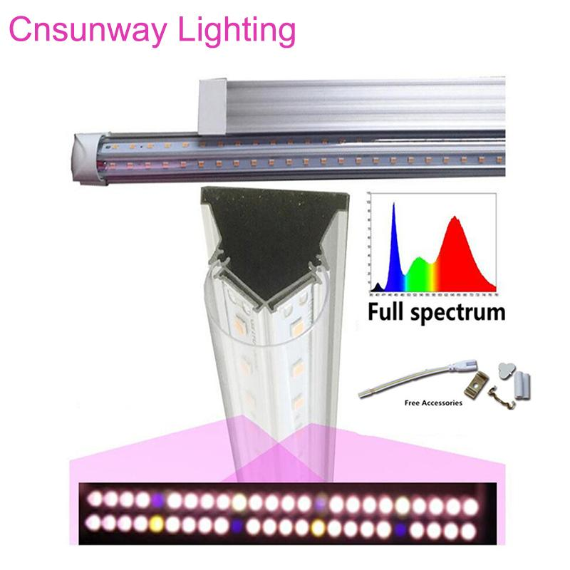 Ücretsiz nakliye 25pcs Tıbbi Bitkiler için Işık T8 V Şeklinde Entegre Tesisi Işık Tüpler Tam Spectrum ve Bloom Meyve Pembe Renk LED Grow