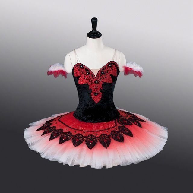 Don Kişot Performans Sahne Giyim Kızlar Elastik Bale Tutuş SiyahKırmızıBeyaz Tutu Elbise ATS9009 Custom Made Dans Kostümleri