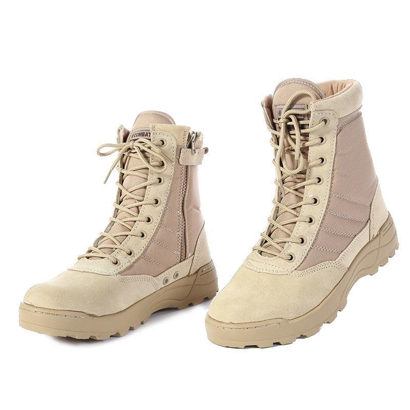 Мужчины снега сапоги 2019 Мужчины Desert Tactical Boots Мужская работа Safty обувь Спецназ армии Загрузочный Zapatos голеностопного Шнуровка Combat