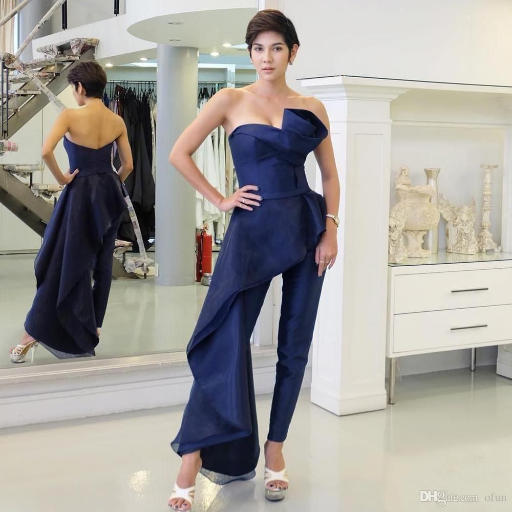 Chic Dark Navy Blue Prom Dresses Jumpsuit With Overskirt Sweetheart Neck  Backless Prom Party Gown Custom Made Evening Dresses Abendkleider Long