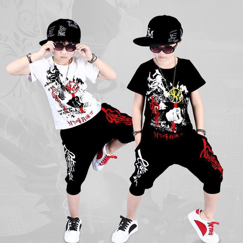 2019 traje para crianças Roupa Define Meninos Verão Hip Hop Roupa Define apresentação de dança Outfits Suit Crianças Roupa Set 2 peças
