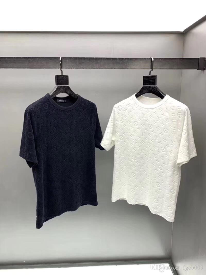 2019 early spring new catwalk show dark flower full LOGO jacquard T-shirt round neck casual short-sleeved shirt