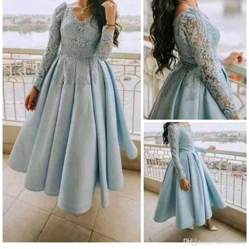 Aso Ebi Arabisch Sky Blue Lace Abendkleider mit tiefem V-Ausschnitt mit langen Ärmeln Guests Kleider Knöchel-Längen-Abend-formalen Partei-Kleider Robe