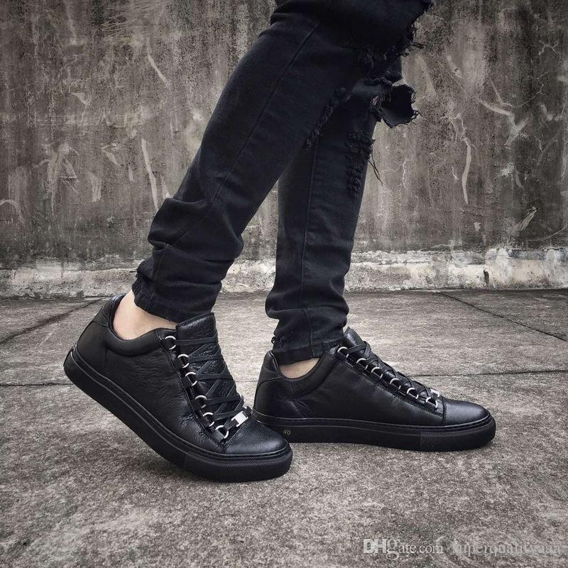 [Orijinal Kutusu] Marka Siyah Calfkin Arena Sneaker Ayakkabı Erkekler, Kadınlar Gerçek Deri Casual Yürüyüş Ayakkabı Kayne West Eğitmenler Marka Yürüyüş Düz