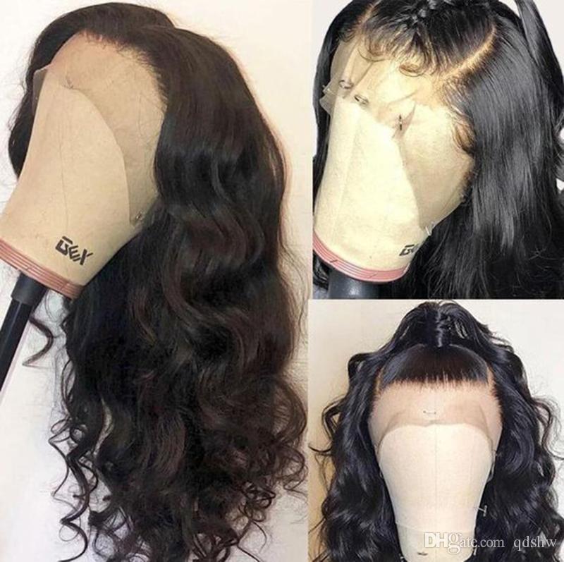 Falso cuero cabelludo indetectable pelucas del pelo humano Pre desplumados frontal 13x6 parte profunda peruana del cuerpo de Remy de la onda invisible del frente del cordón del cuero cabelludo falso