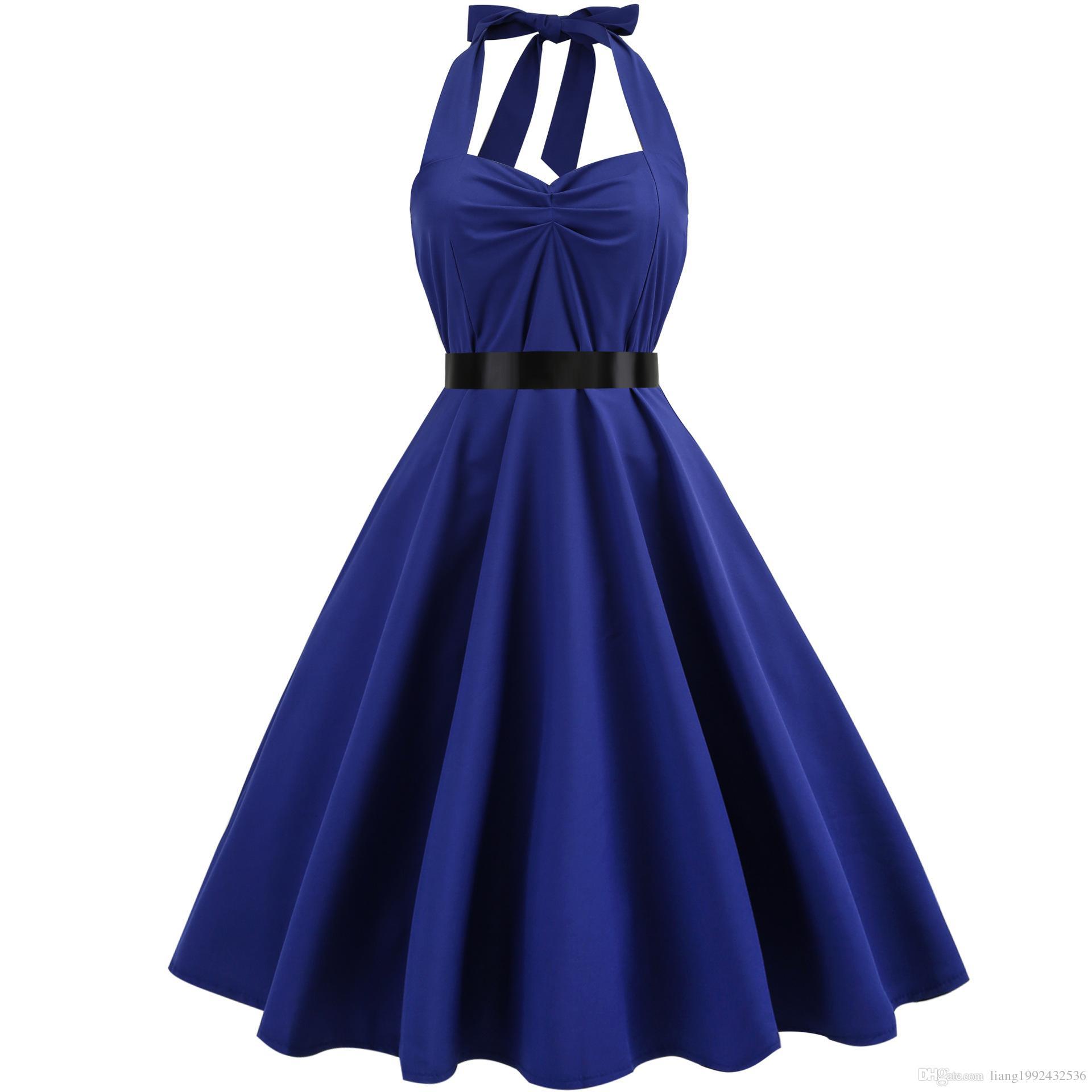 Summer Retro Vestido Flower Button Collar Halter Belt Backless Vintage Swing Casual Women Maxi Wrap Dress Evening Party