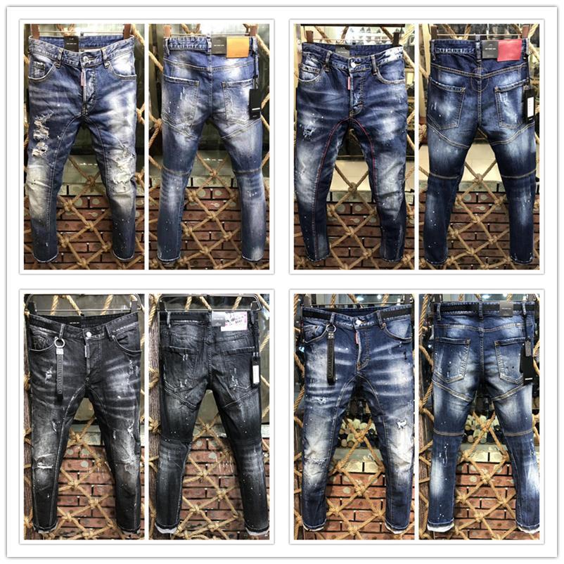 Italienische Marke Herren-Jeans 2020 neue Art und Weise der Qualitätsmann Biker klassische zerrissene Jeans Marke Hose Herrenmode Jeans