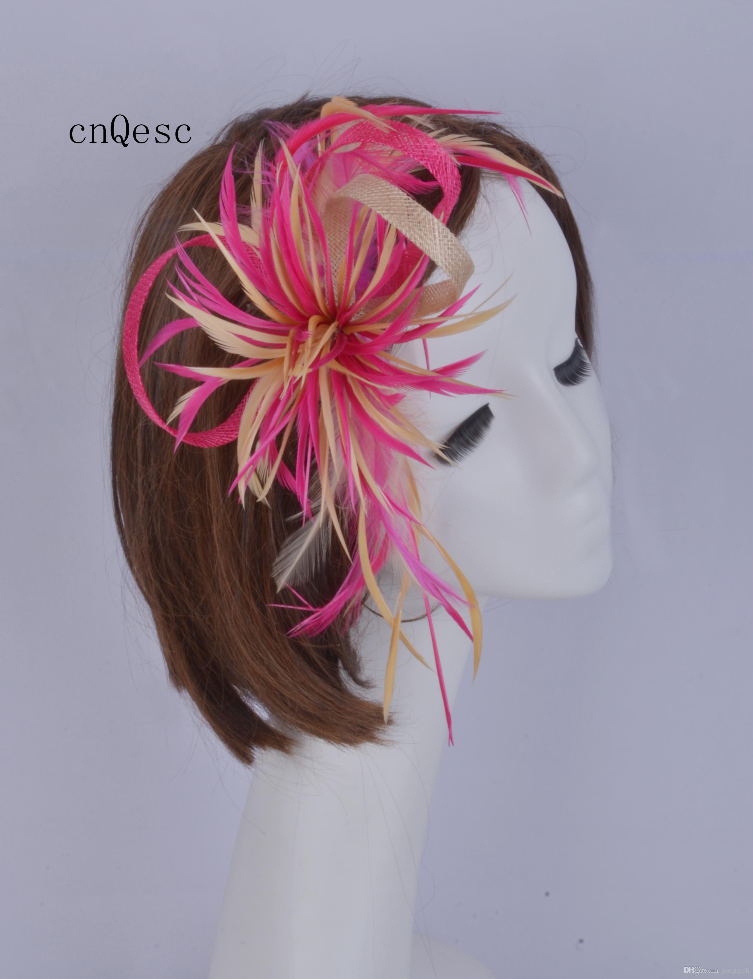 2019 Hot pink beige sinamay fascinator piuma Copricapo Kentucky Derby gare di nozze doccia nuziale madre della sposa