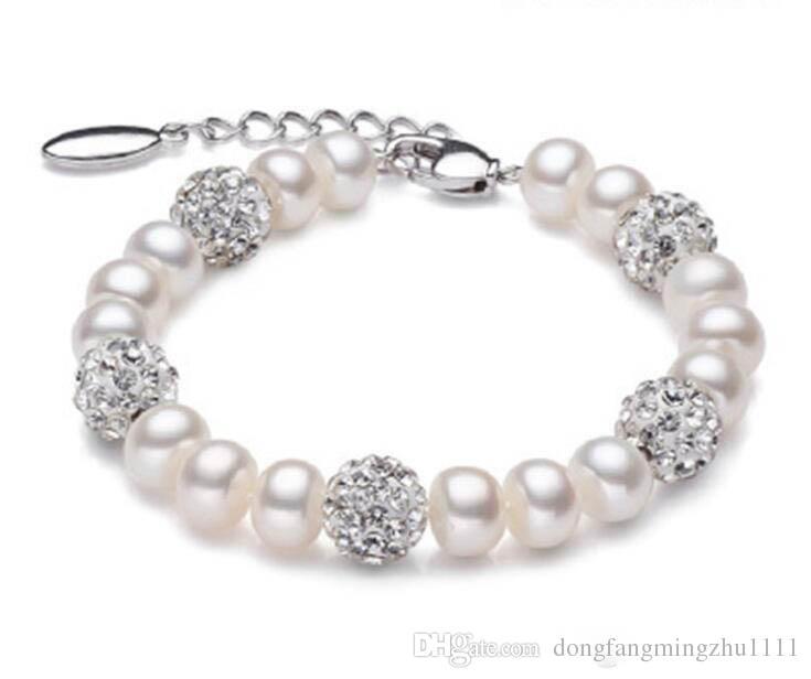 Bracciale in vera perla d'acqua dolce bella donne braccialetto di perle bianche coltivate in argento 925 regalo di compleanno ragazza gioielli