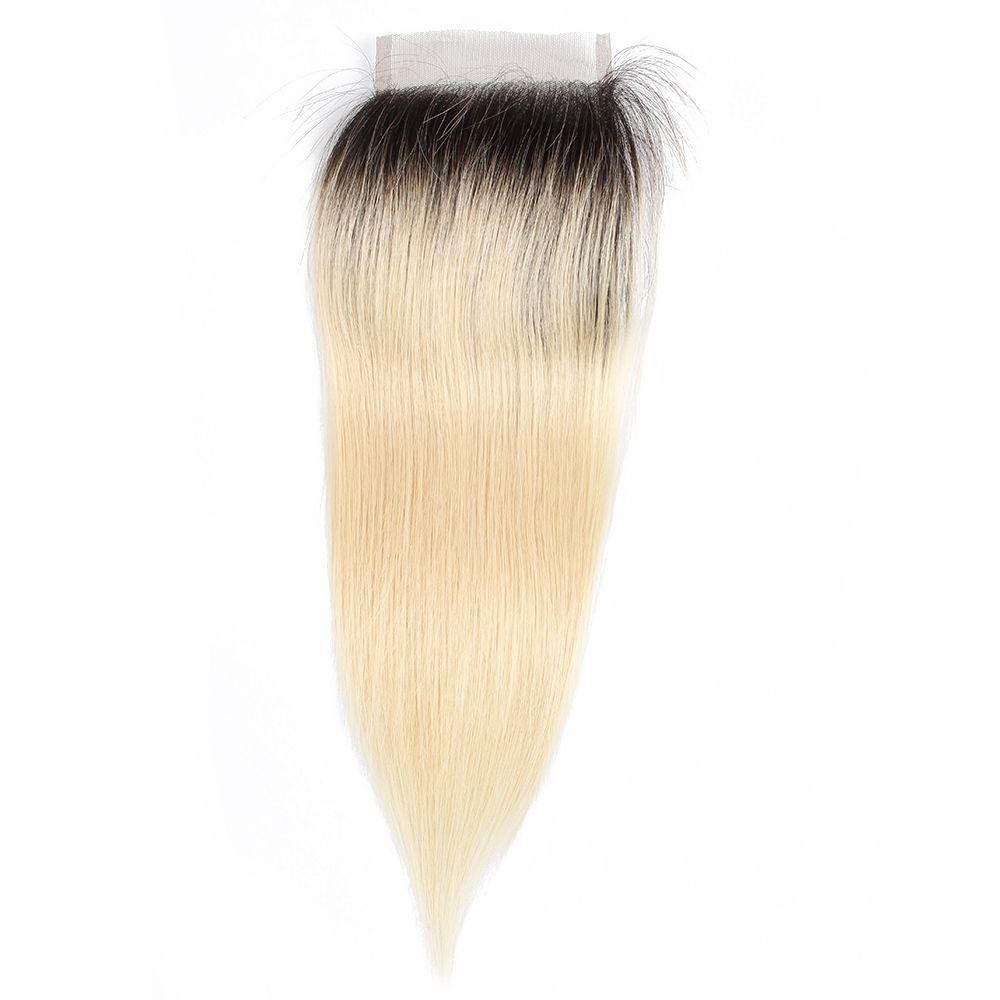 1B 613 선염 금발 머리 4x4 레이스 폐쇄 브라질 스트레이트 처녀 인간의 머리 확장 손 묶여 페루 인도 말레이시아 머리 10-20 인치