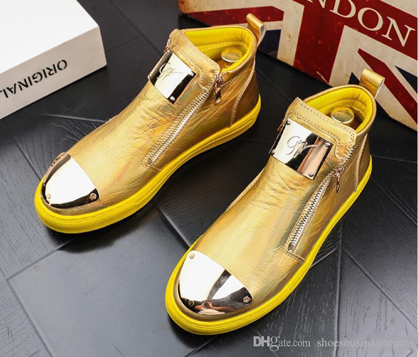 Haute Qualité Hommes High Top Style Britannique Chaussures Hommes de causalité De Luxe Chaussures Rouge Blanc Fond En Caoutchouc Chaussures Pour Hommes Casual Cheville Bottes