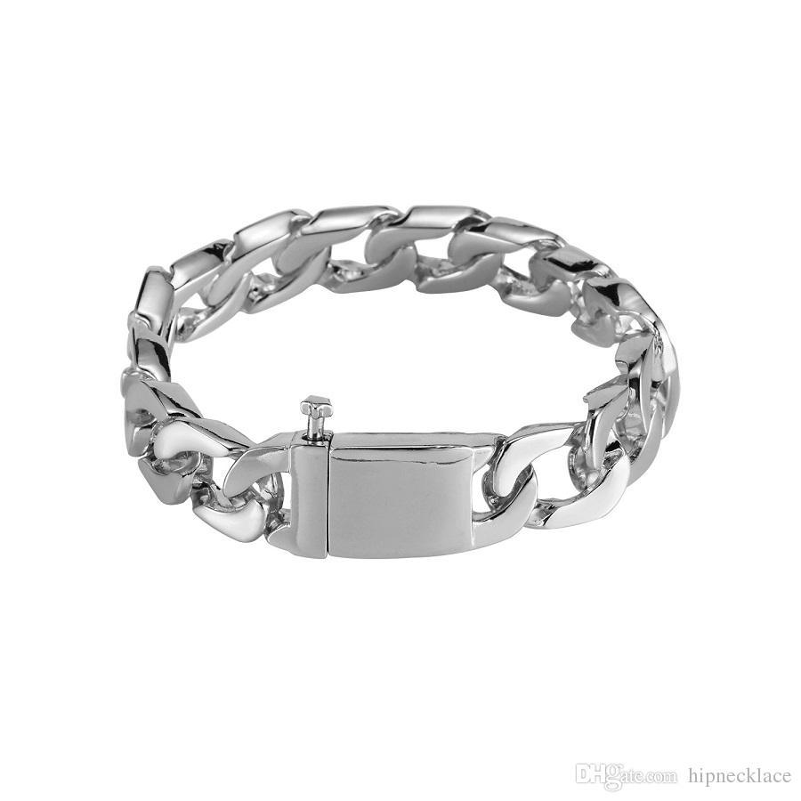 Fashion Mens Hip Hop Stainless Steel Jewelry Men Bracelet Bangles Silver/Gold Color Link Chain Bracelets For Men