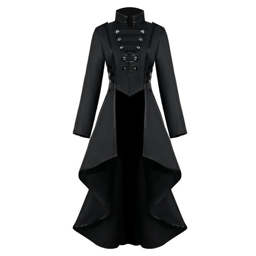 2019 Women Gothic Tailcoat Jacket Steampunk Tuxedo Suit Corset Halloween Costume Outfits Ladies Casual Jacket Coat