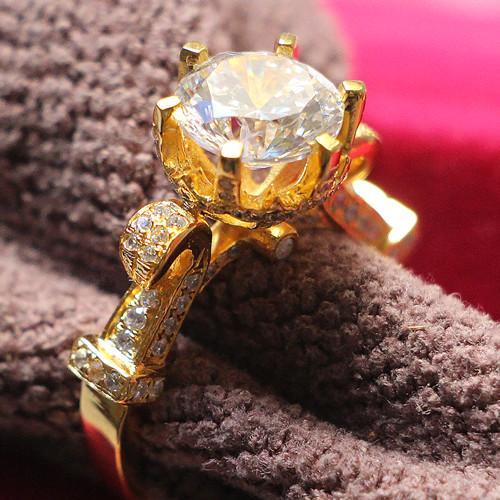 Glitzy lifestyle 3Ct 9mm G-H Moissanite Ring 925 Sterling Silver Female Ring الذهب الأصفر CHARLES COLVARD الضمان