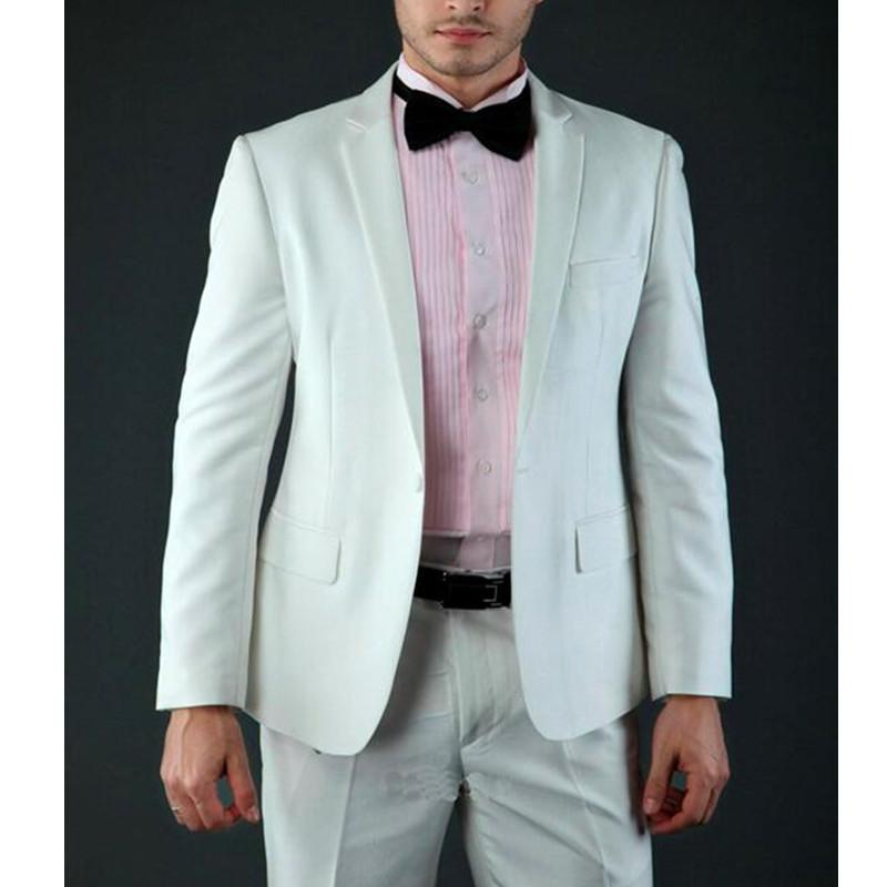 Mizaç Stil Beyaz Çentikli Yaka Bir Düğme Üç Damat smokin Düğün Sağdıç Erkekler Suits (ceket + pantolon) Cepler