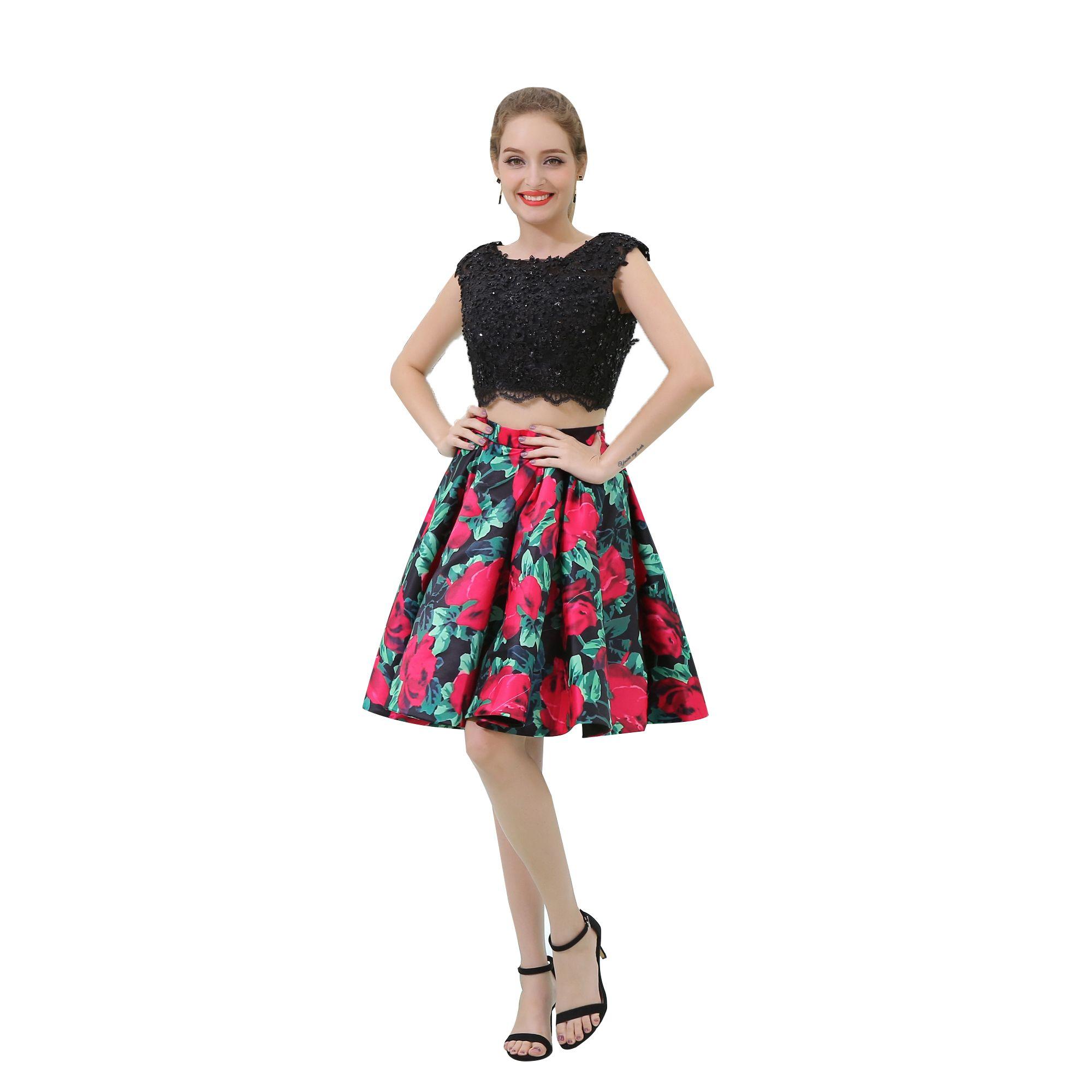 Veri Imag Sexy Stampato Fiore Prom Dresses Corsetto in rilievo Ruffles Gonne Due Pezzi Homecoming Abiti da festa Abiti Backless Top in pizzo B045