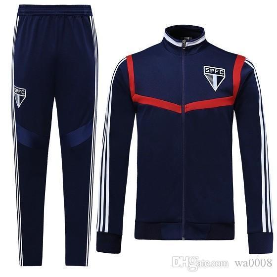 survêtement de football 2019 2020 Sao paulo Chandal veste de football 19 20 camisas de futebol SE complet Long pull zippé Entraînement de jogging