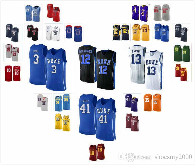 Ucuz Duke Blue Devils Tre Jones Jersey 3 Joey Baker 13 Javin DeLaurier 12 Jack White 41 Zion Williamson 1 Dikişli S-3XL