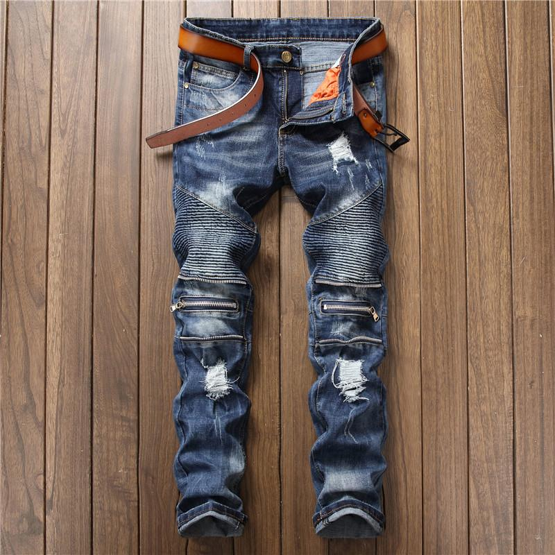 2020 New Trend Men's Clothing Stitching Nightclub Sportsman International Big-name Slim Micro-elastic Small Straight Jeans Size 28-38