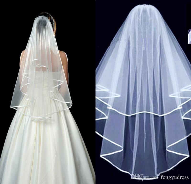 Fengyudress Marfim Branco Duas Camadas Borda da Fita Véu de Noiva de Tule Curto Com Pente Acessório de Casamento para Mulheres