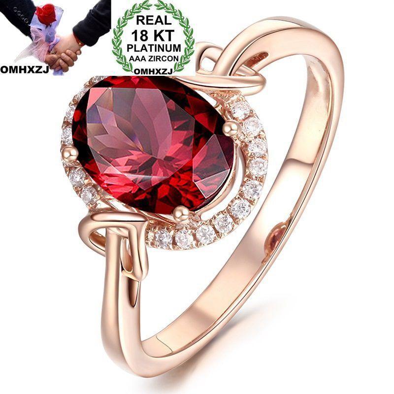 OMHXZJ Wholesale European Fashion Woman Man Party Wedding Gift Luxury Oval White Red Zircon 18KT Rose Gold Ring RR515