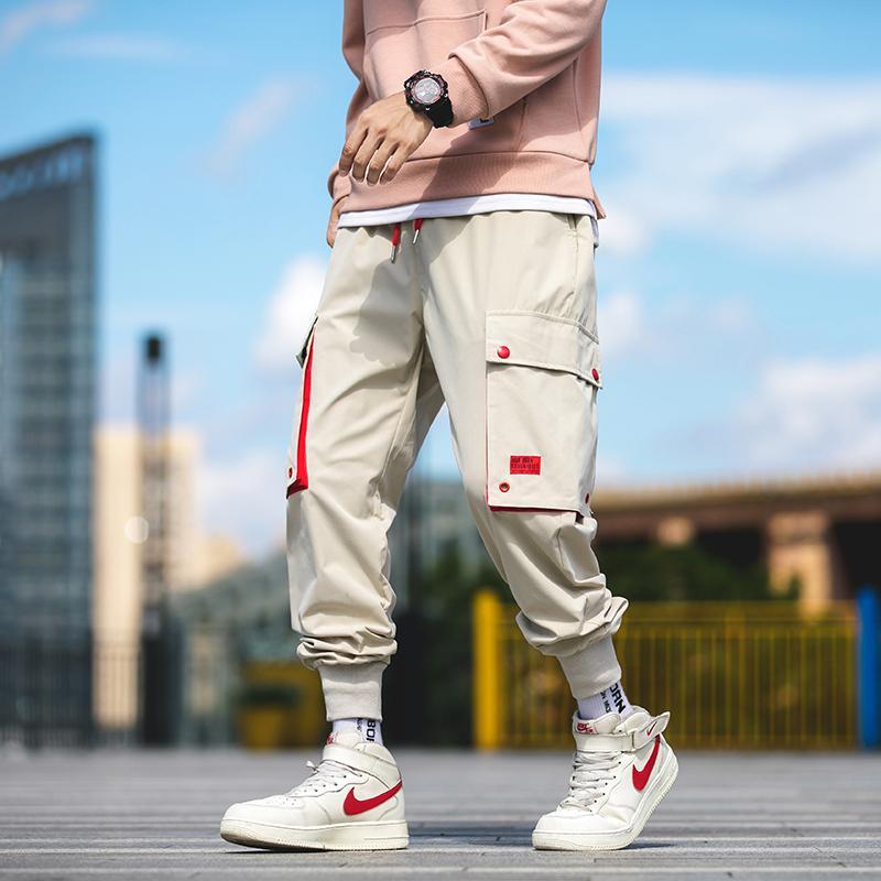 2019 otoño nuevo cargamento Harem del basculador de los hombres jadea el Hip Hop bolsillos de manera ocasional pista Pantalones Streetwear pantalón