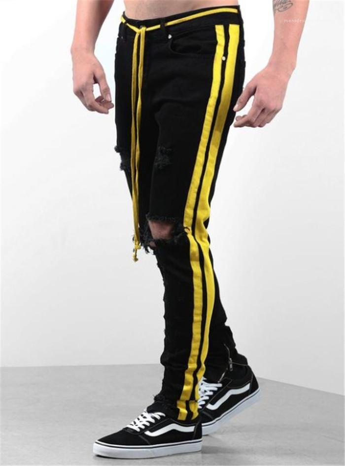 Agujero Homme Estilo Moda Ropa Casual Ropa para hombre del diseñador de moda de los pantalones vaqueros del lápiz Sólido Color Negro