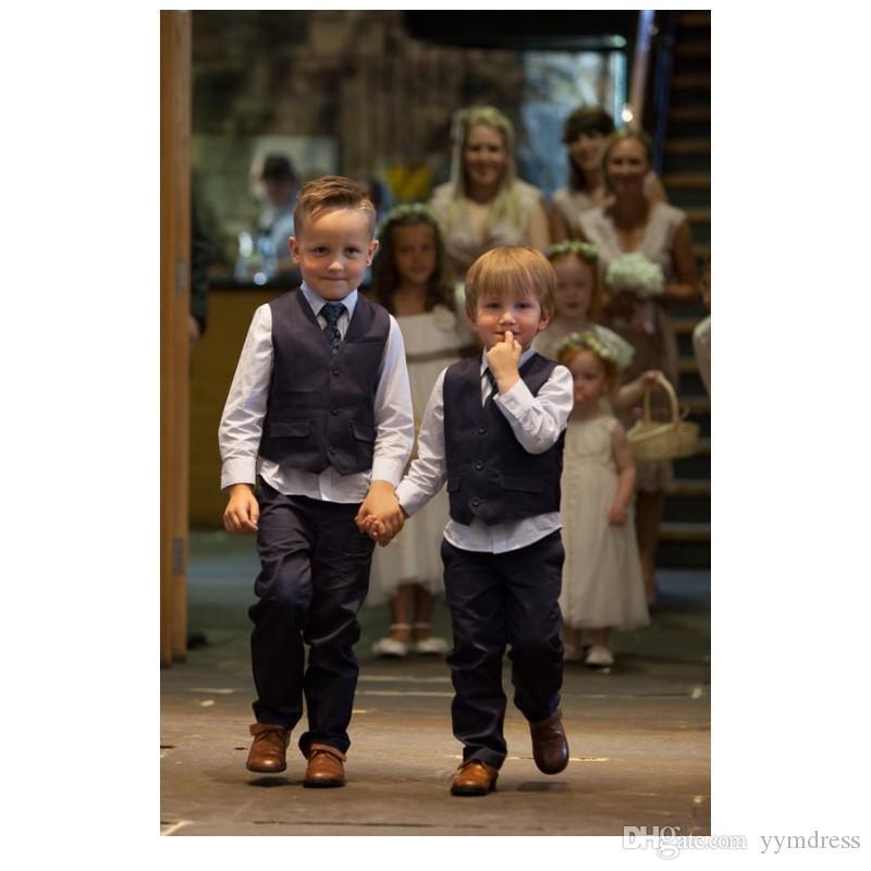 Black Boy Vests 2019 어린이 파티 정식 Harringbone Kid 웨딩 조끼 Two pieces (Jacket + Pants)