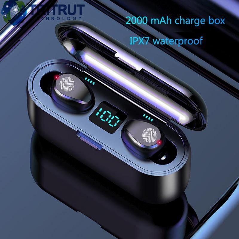 Mostra F9 TWS senza fili auricolare Bluetooth V5.0 auricolari LED Bluetooth Headphone Con 2000mAh Banca di potere auricolare con microfono MQ01