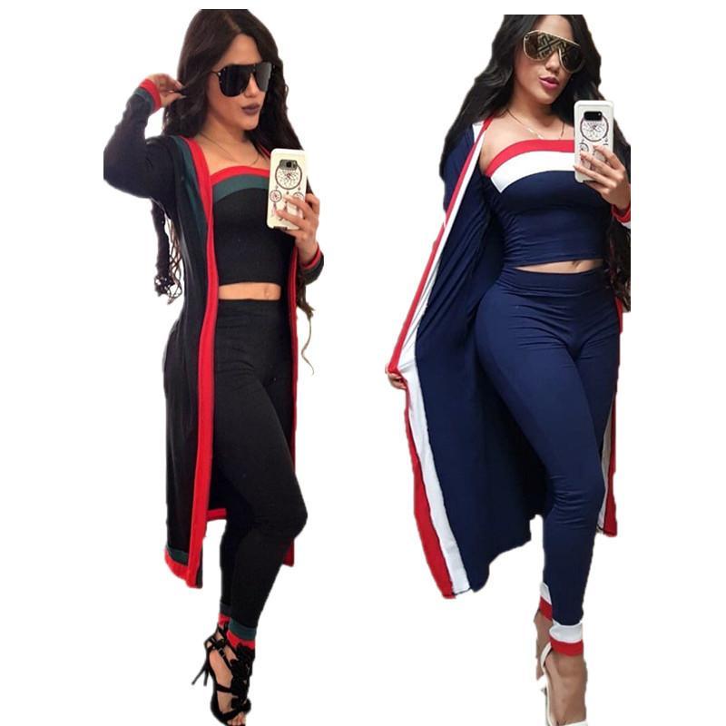 3шт / комплект женские дизайнерские пальто трексуита довольно длинный рукав полосатые пальто вовремя + бюстгальтер толпые + брюки леггинсы наряды осенью одежды