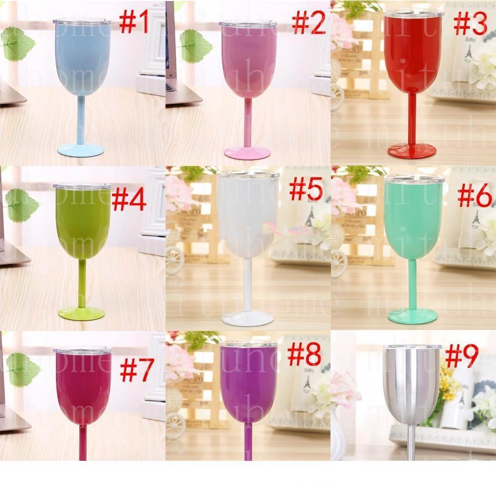 2020 Vin Gobelets 10 oz en acier inoxydable Gobelets 9 couleurs double paroi isolé Party Voyage tasses à vin