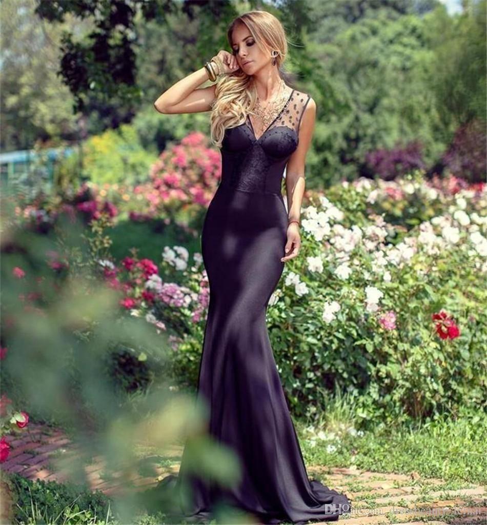 2020 Новый Вечерние платья с плеча партии вечернее платье сексуальный черный открытый сзади шифон Русалка платье Платье De Festa